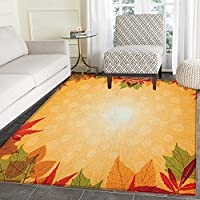 Harvest Rugs for Bedroom Striped Dotted Background and Vibrant Maple Aspen Oak Leaves Seasonal Nature Circle Rugs for Living Room 3x5 Red Green Orange