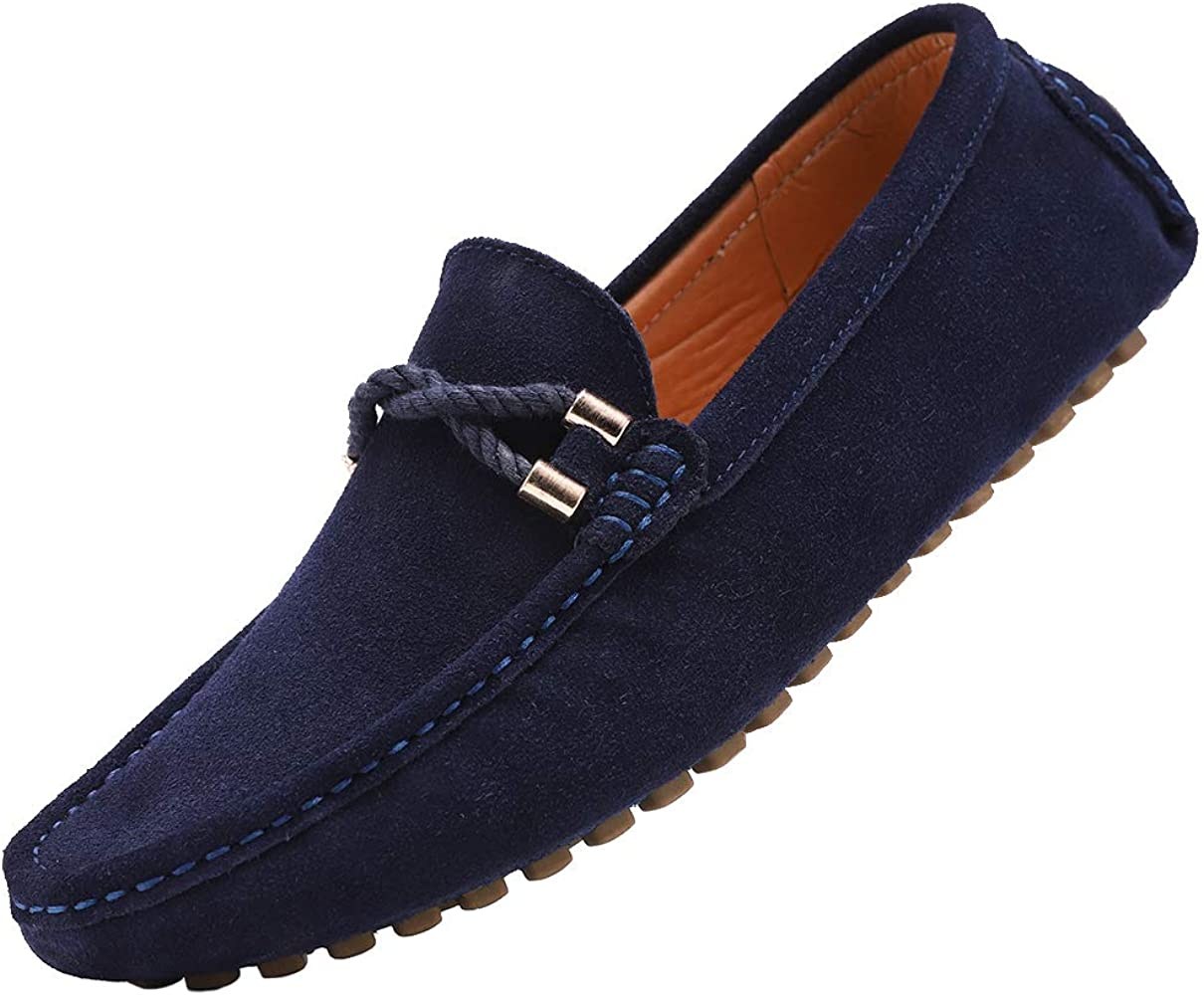 Men Driving Loafers Minimalism Suede Moccasins Slip On  Leather Shoes
