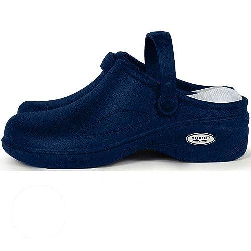 90801cdb4fe15 Amazon.com: Natural Uniforms Ultralite Women's Clogs with Strap, Nursing  Mule, Medical Professional Work Shoe (Size 8, Navy Blue): Shoes