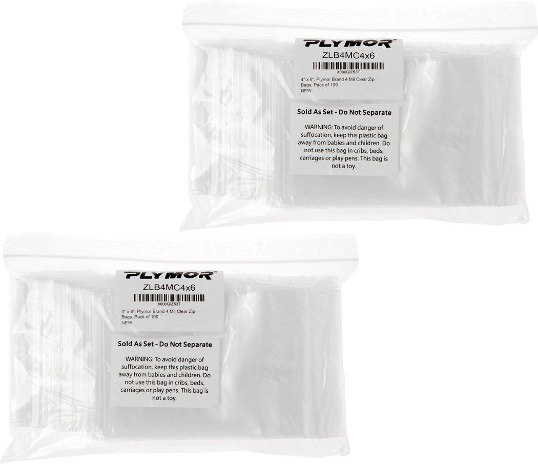 Plymor 4'' x 6'', 4 Mil (Pack of 200) Heavy Duty Plastic Reclosable Zipper Bags