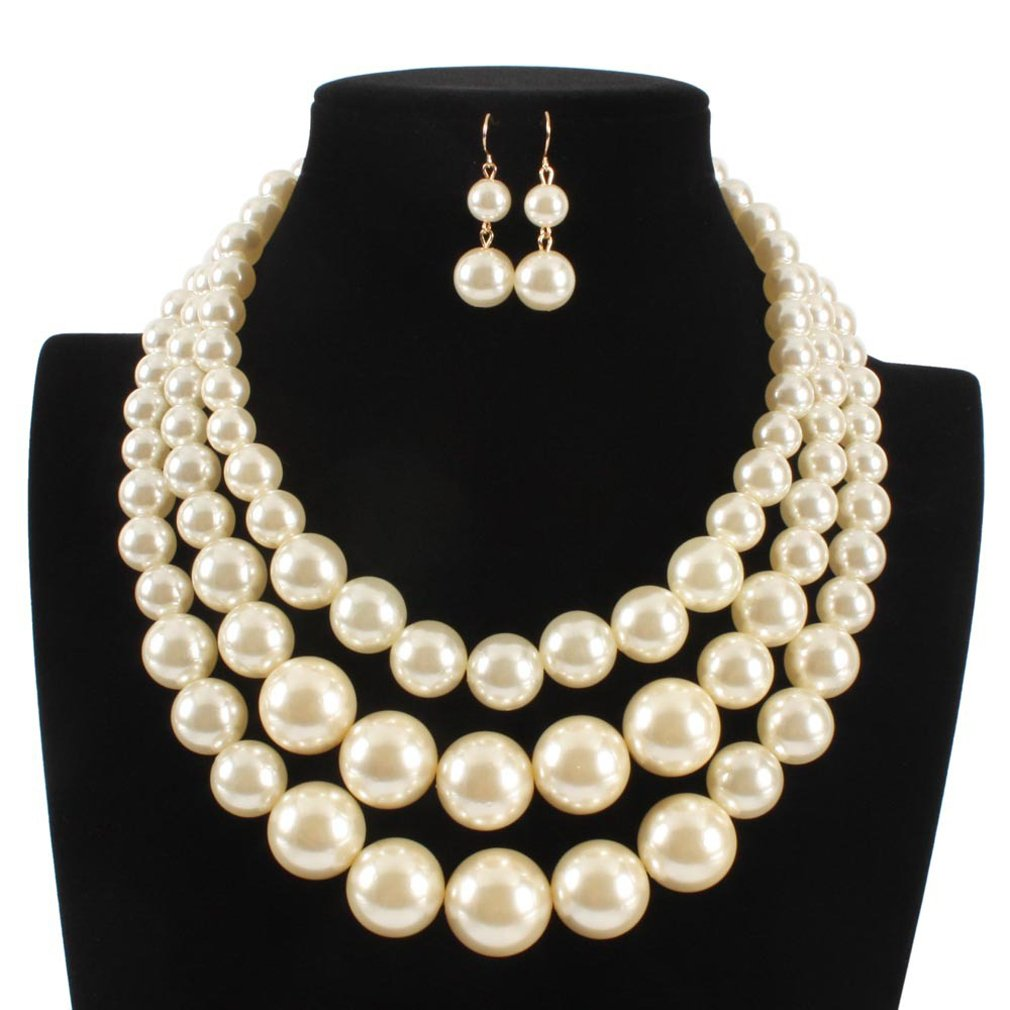 LISA.MOON Women's Three Layers Faux Pearl Necklace and Earring Set