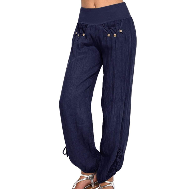 UE45EK Women Pants Elastic Waist Breathable Plus Size Trousers Solid Color Loose Buttons High Waist Pants