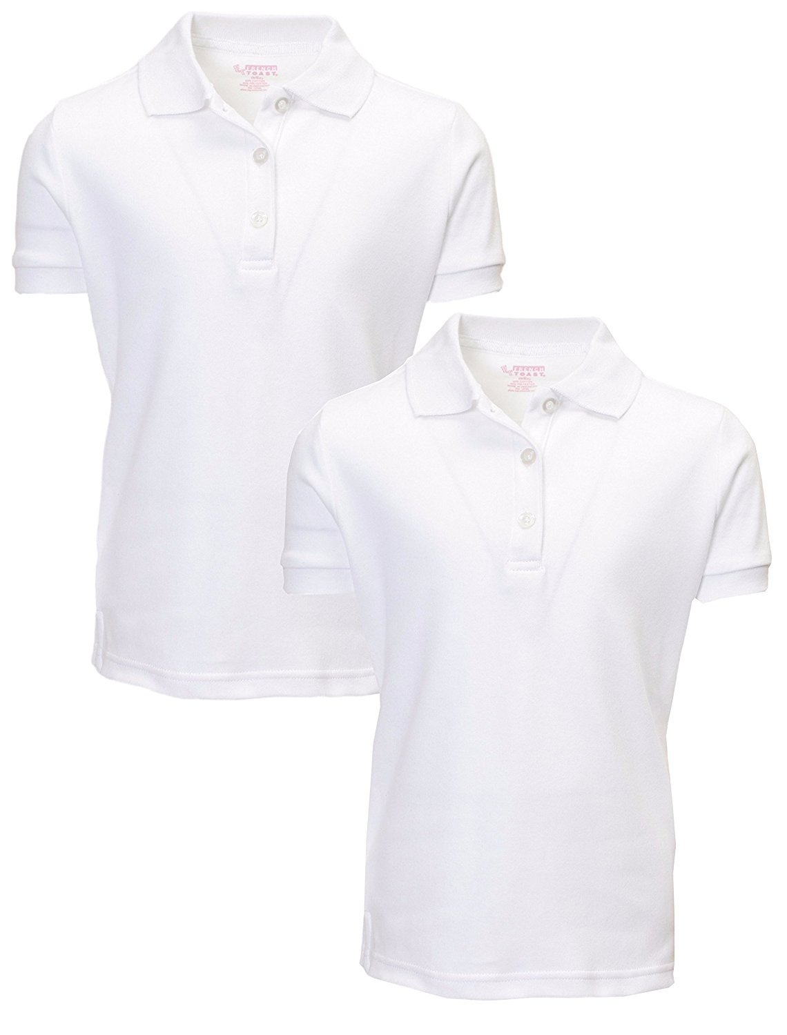 French Toast Girl's 2 Pack Uniform Short Sleeve Polo Shirts 6/6X White