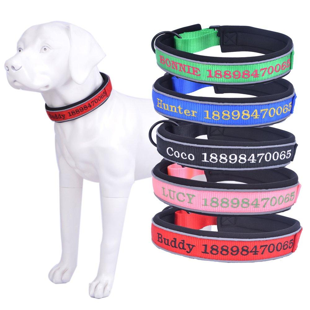 Amakunft réfléchissant durable personnaliser Collier de chien avec nom, brodée Nom Numéro de téléphone pour animal domestique col, personnalisé Collier d'identification pour chien