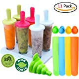 11 Pack Ice Lolly Moulds Set,Ice Lolly Maker,Loading Funnel Plus Silicone Popsicle Molds,Reusable DIY Frozen Ice Cream Pop Molds For Kids