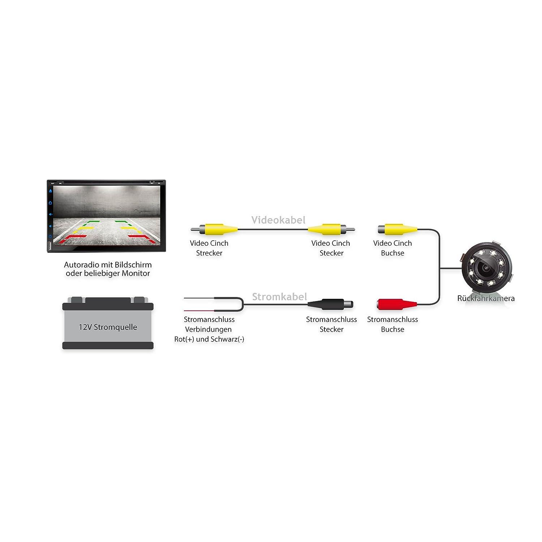 PAL und NTSC 12V Betrieb Einparkhilfe mit farbigen Linien Cinch Anschluss 5m Kabel Weitwinkel 170/° Grad XOMAX XM-018 Universal Auto R/ückfahrkamera Set mit 8 LED Leuchten f/ür Gute Nachtsicht