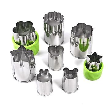 Farinido - Conjunto de 8 moldes para cortar verduras de acero inoxidable, moldes para galletas, cortadores de pan, cortador de frutas para niños: Amazon.es: ...