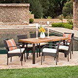 """Christopher Knight Home 298896 Sebastian 7 Piece Wicker and Wood Outdoor Dining Set 