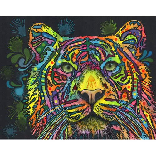 My Wonderful Walls Animal Pop Art by Dean Russo Tiger Wall Sticker Decal, 19 by 15-Inch, Multicolored