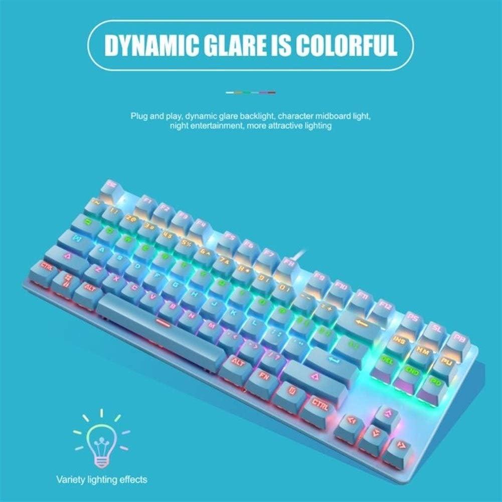 LQC Clavier de Jeu, Arbre mécanique du Clavier Vert 87 Touches Clavier de Jeu for Windows XP / 7/8/10 Systèmes (Color : B) A