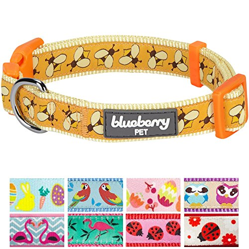 Blueberry Pet 9 Patterns Statement Busy Bees Designer Dog Collar, Medium, Neck 14.5
