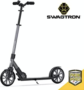 Swagtron Commuter Kick Scooter for Adults, Teens   Foldable, Lightweight w/ABEC-9 Wheel Bearings   Height-Adjustable, 220LB Max Load