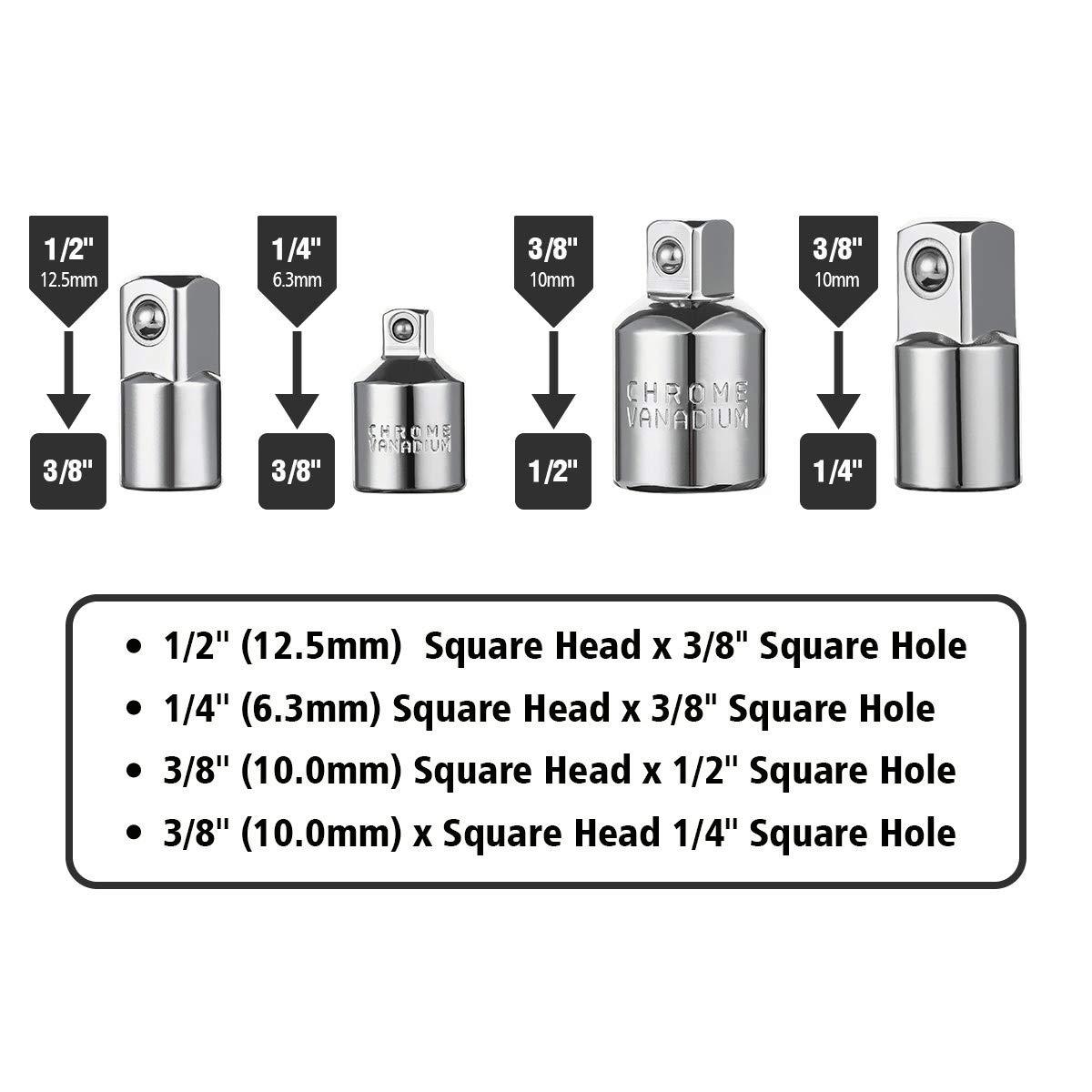 1//2 +Set con 3 Pzas de Color Aluminio adaptadores 1//4 hex-1//4-3//8 1//2 Llave de Vaso Newder Adaptador para Llave de Carraca Juego de 4 Pzas Adaptadores de 1//4 3//8