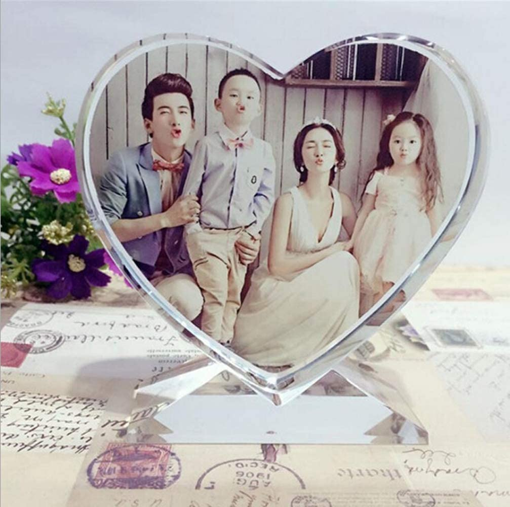 Personalized Crystal Glass Photo Frame DIY Plaque Photo Print,Desktop Decor Rectangle Picture Frames with Stands,Customized Birthday Wedding Valentine's Day Christmas Photo Gift(HeartCrystal)