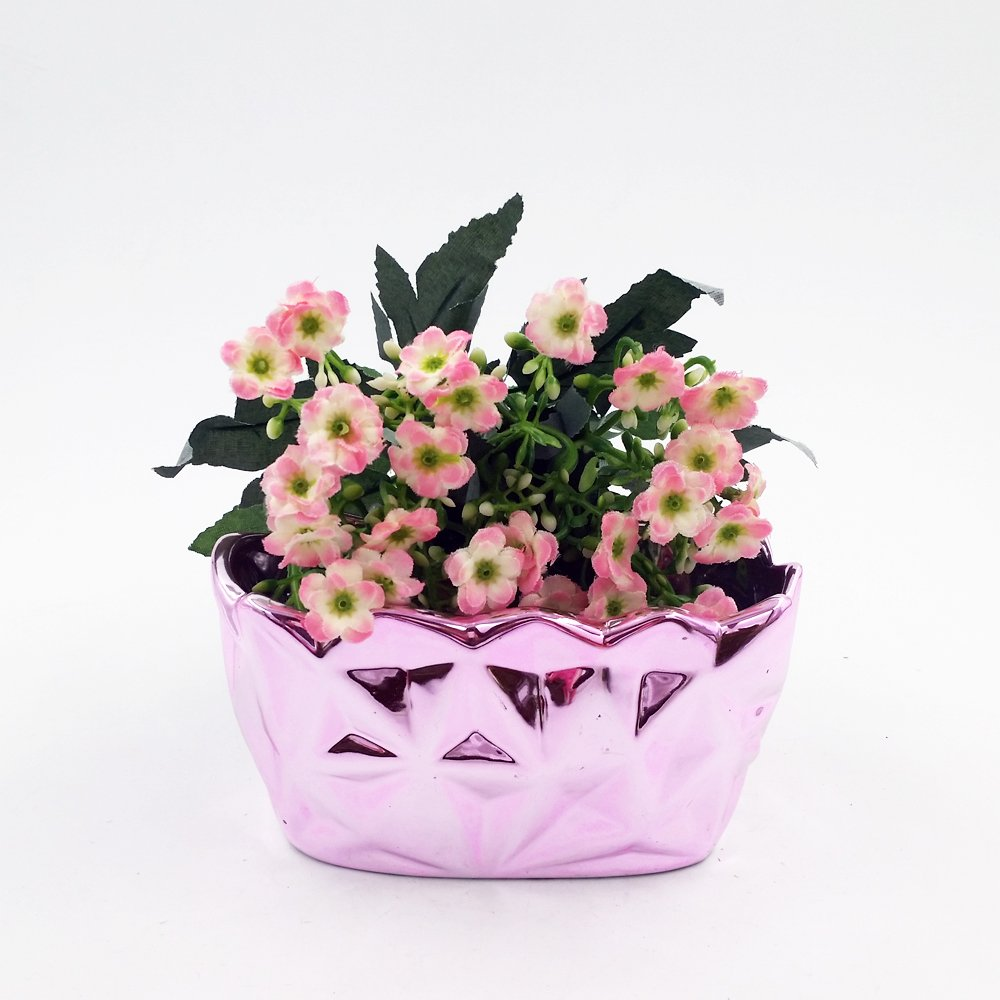 Better-way Glitter Diamond Rectangle Ceramic Orchid Flower Container Succulent Planter Plant Pot Windowsill Contemporary Home Decoration Rosy Pink