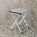 Richards Homewares Bath and Shower Bench - Water Resistant - Foldable for Easy Storage - Sturdy Modern Stool for Convenient Bathing Experience - Medical Chair for Elderly or Disabled - Aluminum