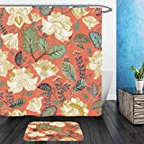 Vanfan Bathroom 2?Suits 1 Shower Curtains & ?1 Floor Mats colorful seamless pattern floral background flowers wallpaper 581685946 From Bath room