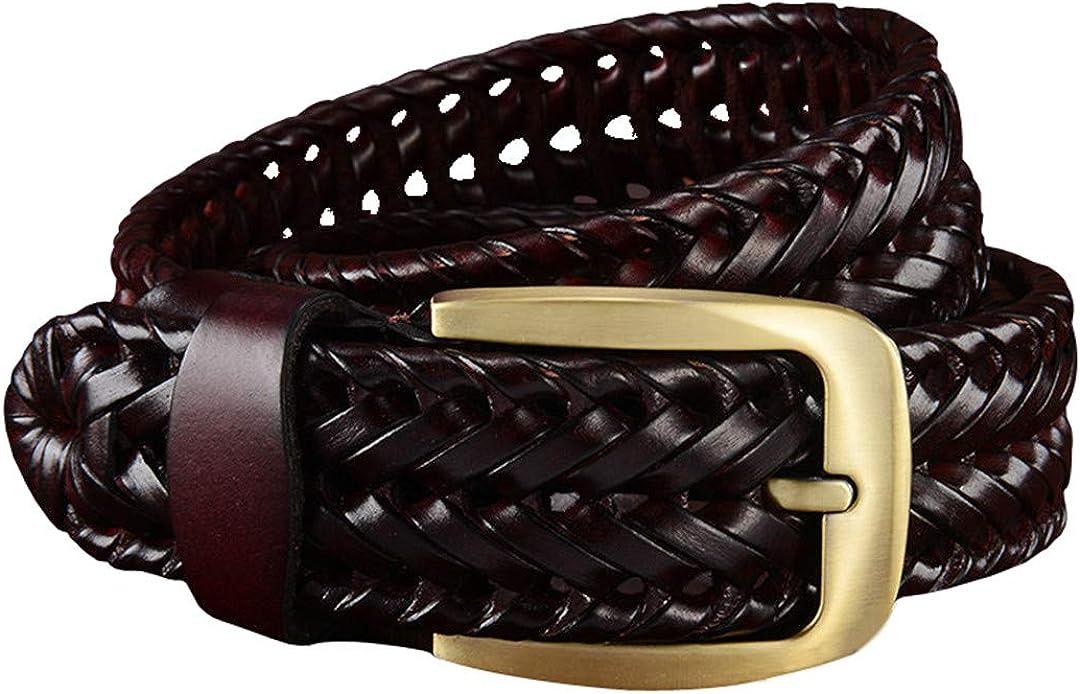 JUIHUGN Woven Belt Genuine Leather Womens Straps Man Belts Wide Girdle Male Cow Skin Vintage Femme Man Brown BZ 115cm