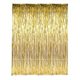 Cheap 3′ X 8′ (36″ X 96″) 3 ft X 8 ft. Metallic Gold Foil Fringe Curtains Door Window Curtain Party Decoration- (Gold, 3′ X 8′- Pack of 6)