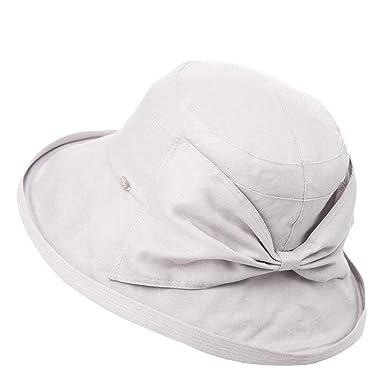 2df1ed4543849 Siggi Ladies Linen Summer Sun Hat Foldable Packable Bowknot Wide Brim  Bucket Cap for Women