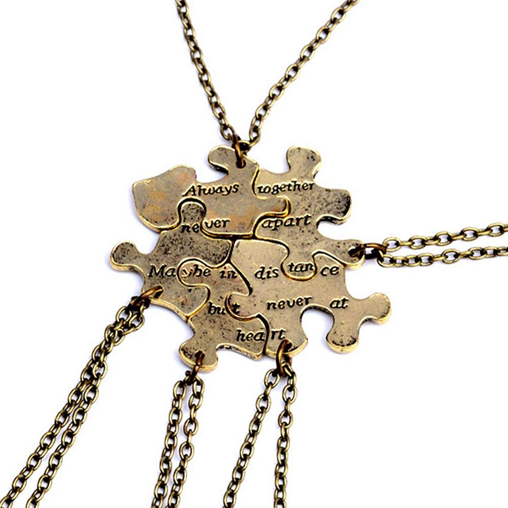 5 Pcs Vintage Best Friends Necklace Antique Brass Puzzle Pendant Set for Friends BFF Friendship Necklace YLT UK_B078WS4M2Q