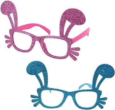Toyvian 2pcs Gafas Divertidas para Fiestas Orejas de Conejo Gafas ...