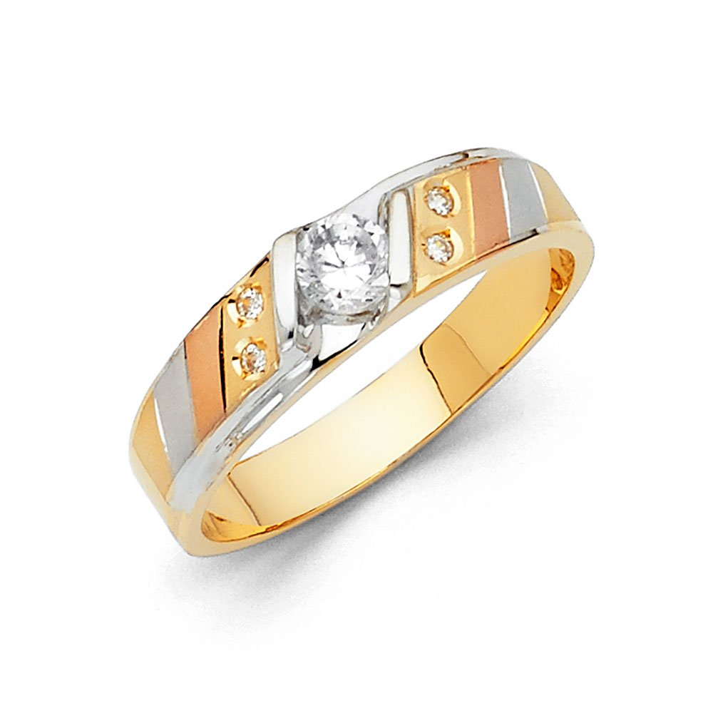 Sonia Jewels 14k Gold Ring Round Cubic Zirconia Mens Anniversary Wedding Band