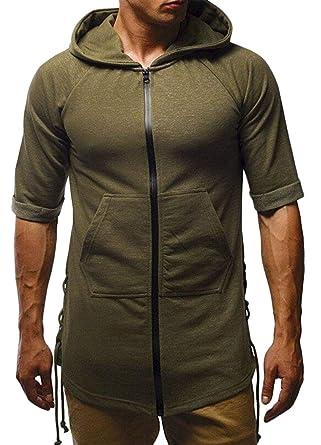a8a52bafb Fensajomon Men Solid Color Short Sleeve Hoodie Slim Fit Zip Front  Sweatshirt T-Shirt Tee Top | Amazon.com