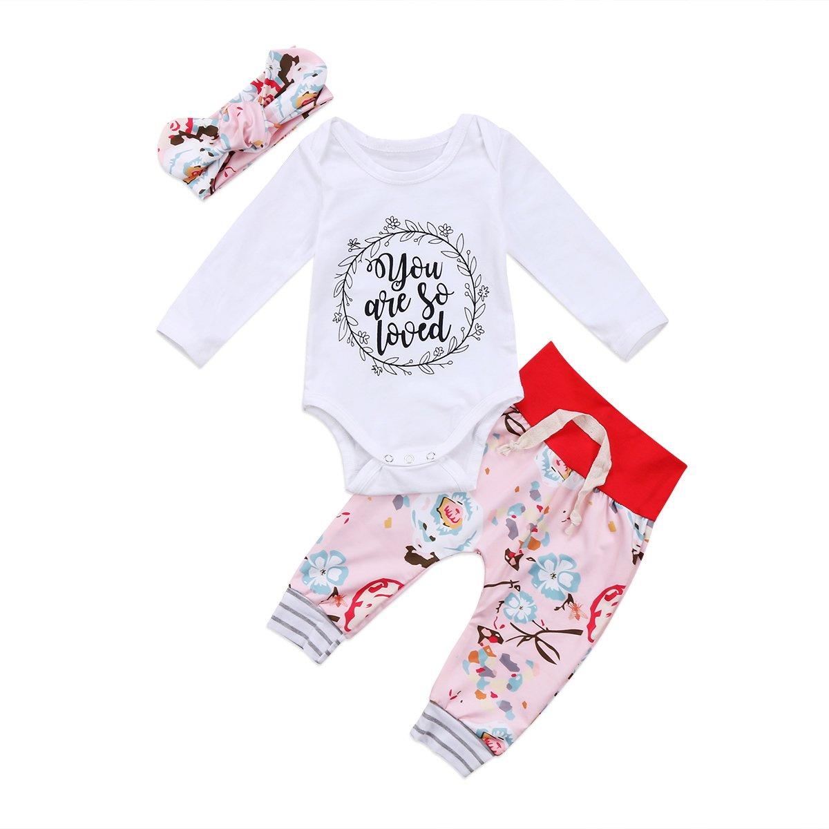 Baby Girl Floral Pants Outfits Cute Romper Long Sleeve Bodysuit Pants+Headband ITFABS