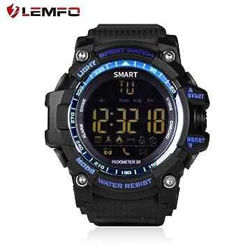 LEMFO EX16 Reloj Inteligente Bluetooth4.0 Impermeable IP67 Reloj de Pulsera Batería Larga Pasos Cuenta Cronómetro Cámara Remota: Amazon.es: Electrónica