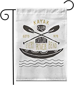 """Adowyee 28""""x 40"""" Garden Flag Kayak Canoe Label Grunge Retro Typography Print Raft Trip Active Adrenaline Anchor Outdoor Double Sided Decorative House Yard Flags"""