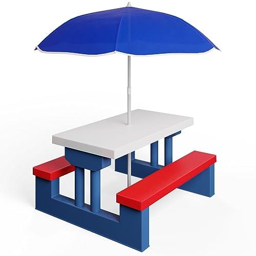 Deuba Kids Garden Table & Bench Picnic Set with Parasol – Outdoor Play Furniture Children Umbrella Chairs