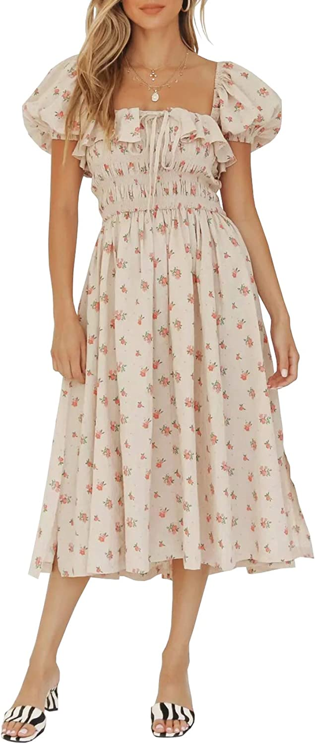 Cottagecore Dresses Aesthetic, Granny, Vintage R.Vivimos Womens Summer Floral Print Puff Sleeves Vintage Ruffles Midi Dress $31.99 AT vintagedancer.com