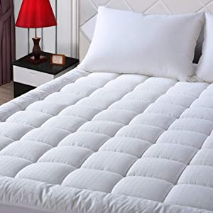 "EASELAND RV Short Queen Mattress Pad Pillow Top Mattress Cover Quilted Fitted Mattress Protector Cotton Top 8-21"" Deep Pocket Hypoallergenic Cooling Mattress Topper for Camper"