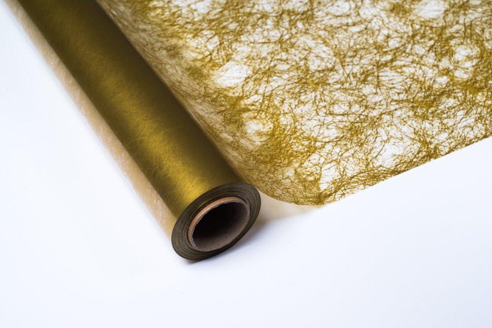 PAKOT Bobina Polipropileno 70 CM X 50 Metros Transparente Impreso Fibra Oro