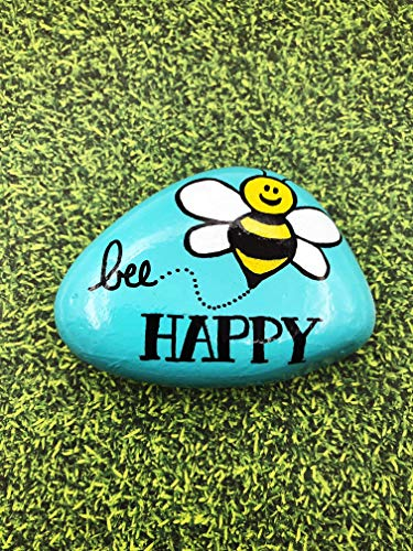 Shape Paperweight Acrylic (Bee Happy Encouragement Painted Rock)