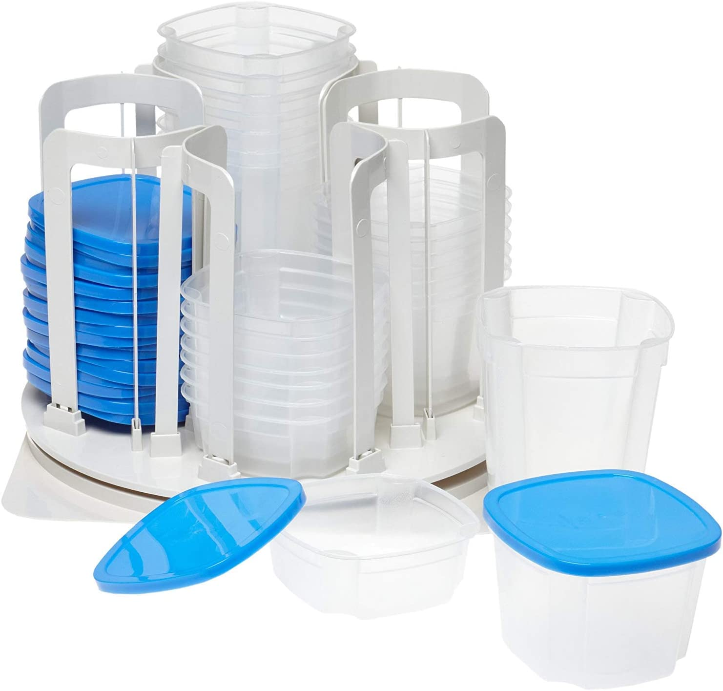 Smart Spin F Food Storage & Organization System-Microwave & Dishwasher Safe-BPA Free, 1, Blue