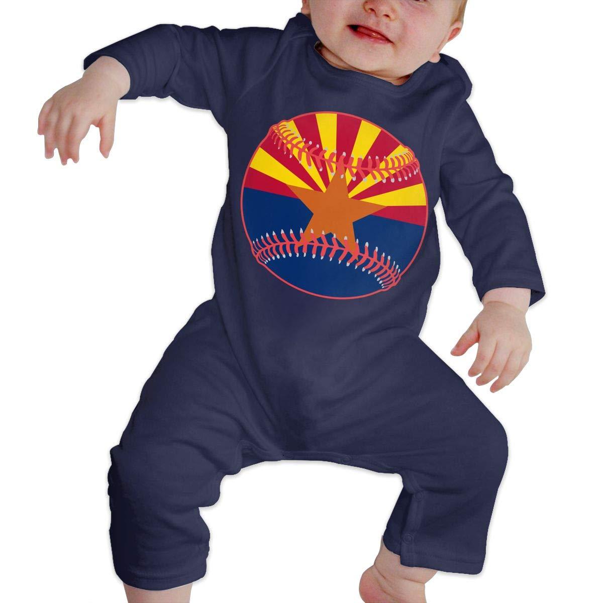 Toddler Baby Boy Girl Long Sleeve Jumpsuit Arizona Flag Baseball Clipart Kid Pajamas