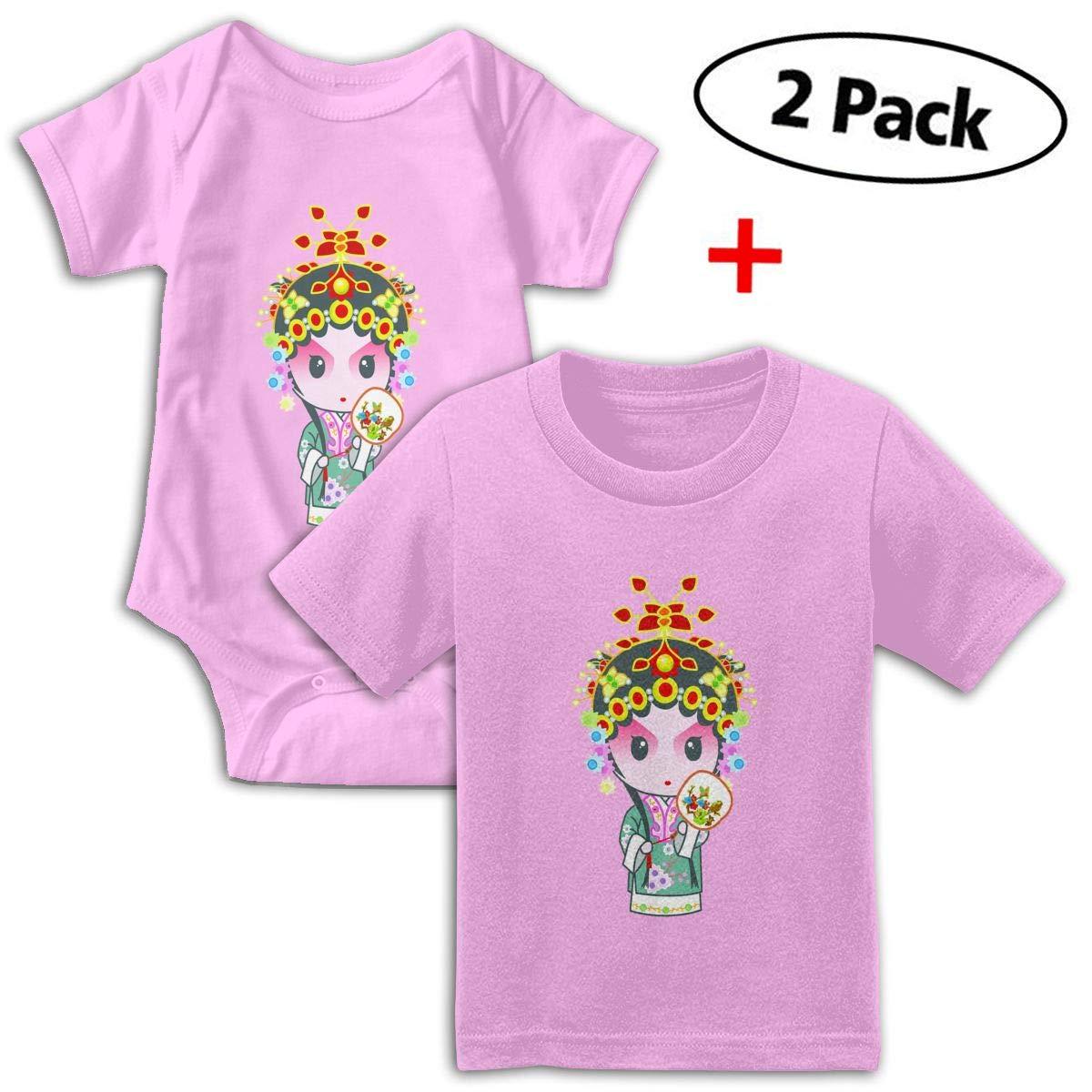 Chinese Peking Opera Babys Boys /& Girls Short Sleeve Jumpsuit Outfits And T-shirt