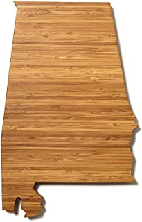 """product image for AHeirloom: The Original State Shaped Serving & Cutting Board. (As Seen in O Magazine, Good Morning America, Real Simple, Brides, Knot.) Made in the USA from Organic Bamboo, Large 15"""" (Alabama)"""
