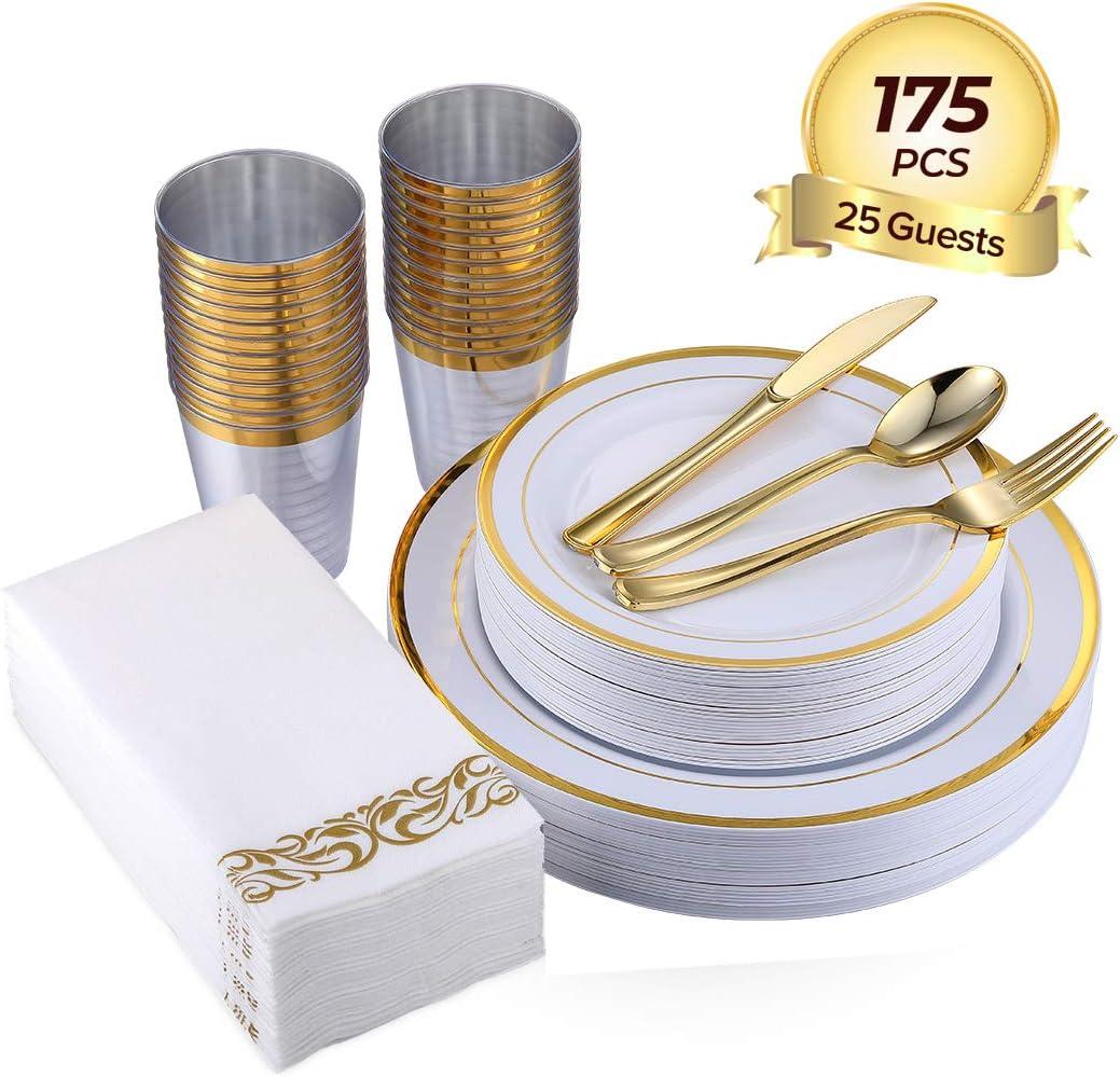 FOCUS LINE 175PCS Disposable Dinnerware Set for Party or Wedding-Gold Rim Plastic Plates -Gold Plastic Silverware - Gold Plastic Cups - Linen Like Gold Disposable Napkins(25 Guests)
