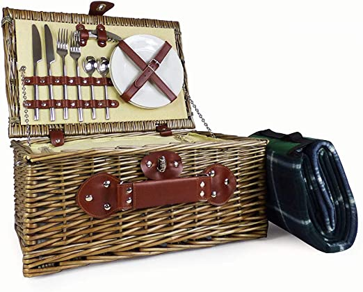Mothers Day Anniversary Valentines Business and Corporate Birthday Wedding 4 Person Picnic Basket Set Colourful Striped Lining Wicker Hamper with Accessories and Cream Blanket Gift Ideas for Mum