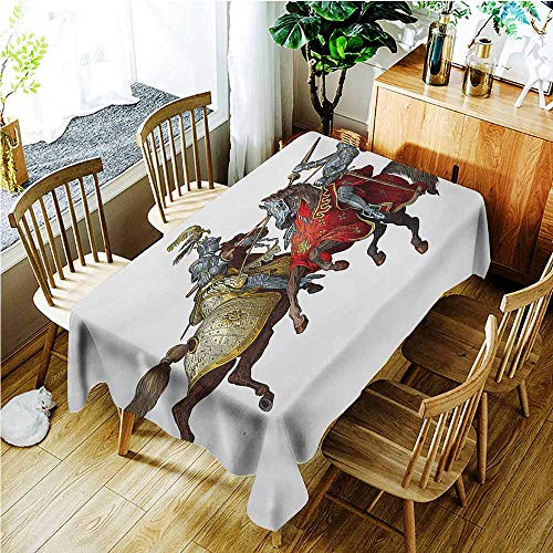 TT.HOME Waterproof Table Cover,Medieval Middle Age Fighters Knights with Ancient Costume Renaissance Period Illustration,Party Decorations Table Cover Cloth,W60X102L,Multicolor -