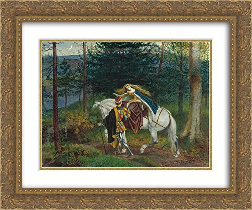Walter Crane 2x Matted 24x20 Gold Ornate Framed Art Print 'La belle Dame Sans Merci - Sans Framed Merci Belle Dame