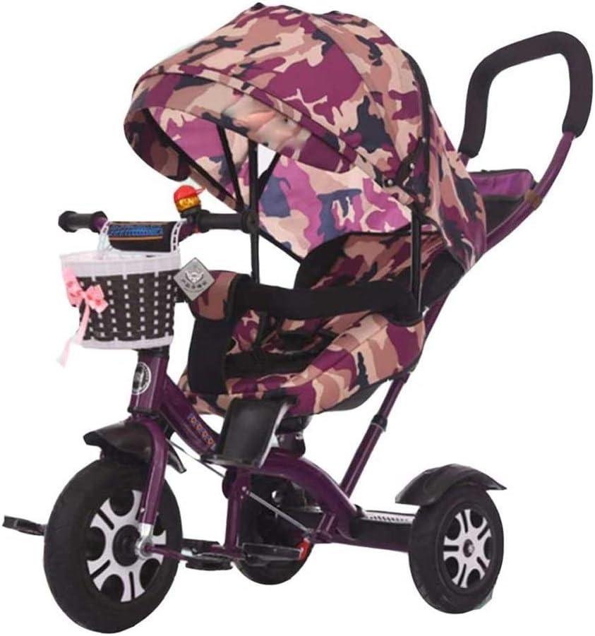 YANGYUAN De los niños del bebé del triciclo de bicicletas 1-3-2-6 Años de Edad reclinable de bebé grande de la mano de empuje del cochecito de bicicletas de gran tamaño toldo del sol y cómodo respaldo