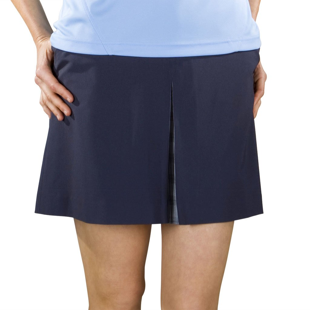 Monterey Club LadiesソリッドセンターフロントPlaid Pleated Woven Skort # 2851 Size:12 ネイビー B00BQKOZLS