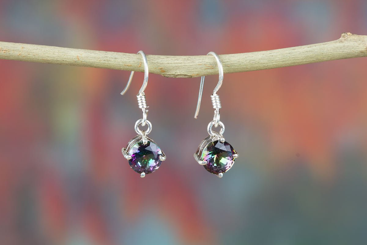 Gorgeous Natural stone Mystic Rainbow Topaz Sterling silver Earrings - Sterling Silver Earrings- Natural Gemstone Earrings - Dangle Earrings