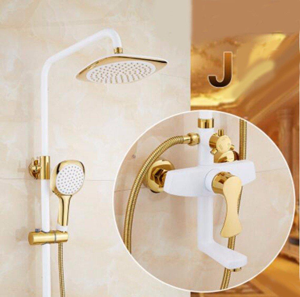 J Shower set Grilled White Paint Shower Shower Set Retro European gold Copper Plated Bathroom Shower Faucet Water Mixing Valve,B