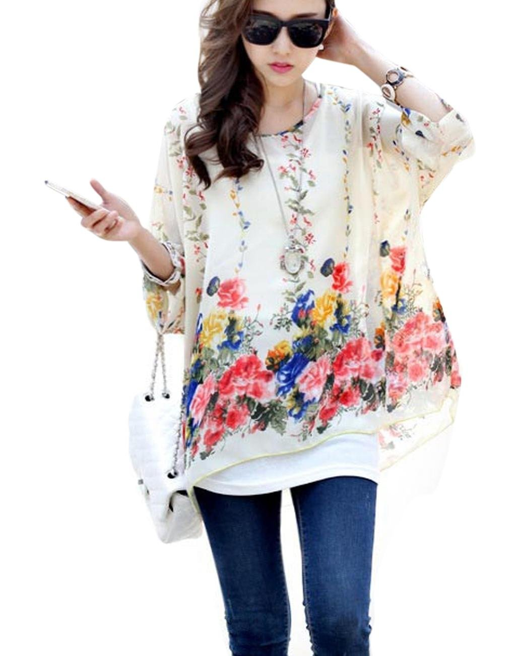 LY Womens Loose Casual Batwing Sleeve Chiffon Shirt BOHO Style Tops Blouse, Multi1, One Size fits most