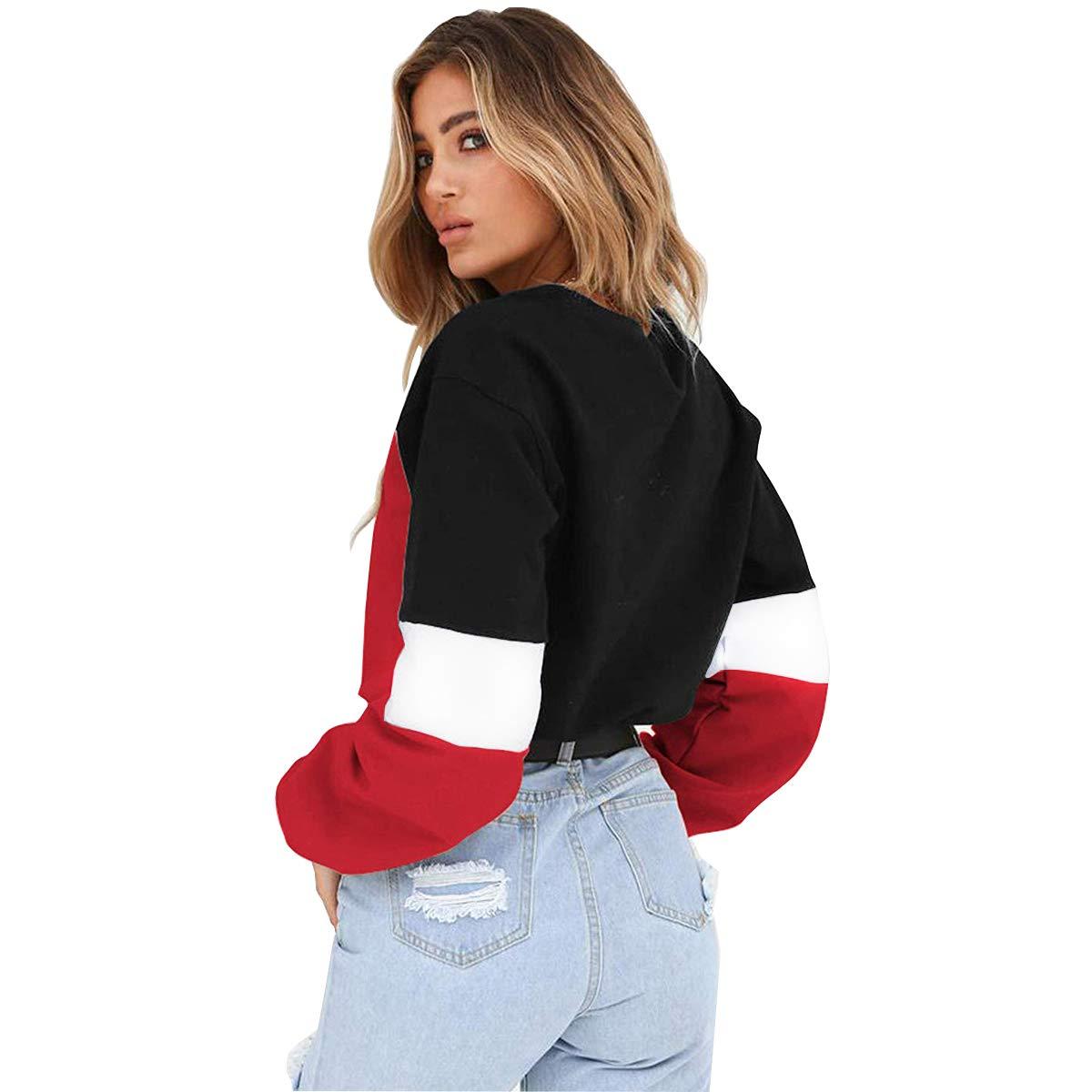 Womens Sweatshirt-Long Sleeve Hoodies Pullover Tops with Drawstring Hem Color Block Crop Top